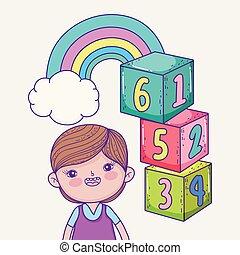 menino, jogo, cubos, nuvem, arco íris