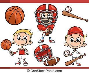 menino, jogo, desporto, caricatura, equipamento