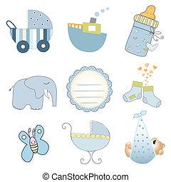 menino, jogo, formato, itens, isolado, vetorial, fundo, bebê...