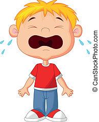 menino, jovem, chorando, caricatura