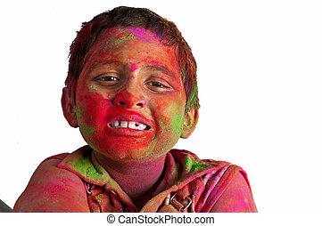 menino, jovem, cima, cores, fim, face sorridente, tocando, ...