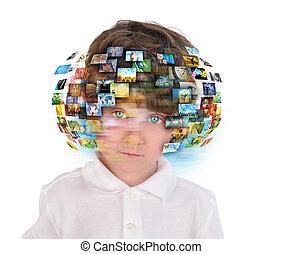menino jovem, com, mídia, imagens