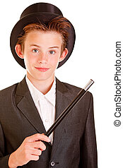 menino jovem, em, elegante, mágico, ornamentar, contra, branca