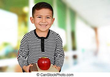 menino jovem, em, escola
