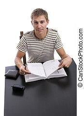 menino, jovem, estudar