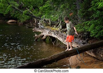 menino jovem, explorar, por, um, remoto, lago