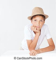 menino, jovem, hat.