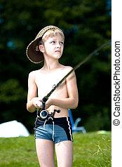 menino jovem, pesca, em, um, lago