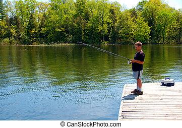 menino, jovem, pesca
