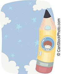 menino, lápis, céu, ilustração, astronauta, criança