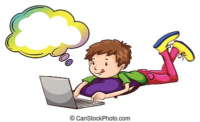 menino, laptop, callout, vazio, usando