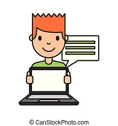 menino, laptop, caricatura