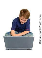 menino, laptop, feliz, usando
