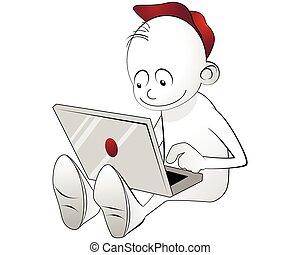 menino, laptop, trabalhando