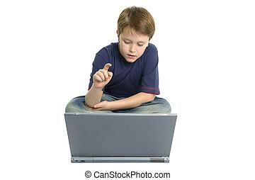 menino, laptop, usando
