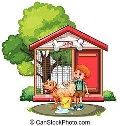 menino, lavando, cão, com, shampoo