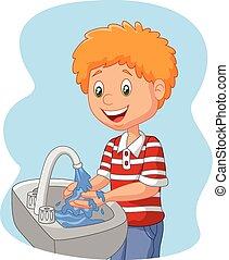 menino, lavando, caricatura, mão