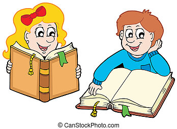 menino, leitura menina