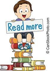 menino, ler, ilustração, mais, livro, toddler, criança
