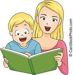 menino, ler, livro, mãe, criança, feliz