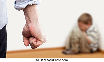 menino, levantado, sentando, parede, zangado, punho, criança, canto, sobre, homem