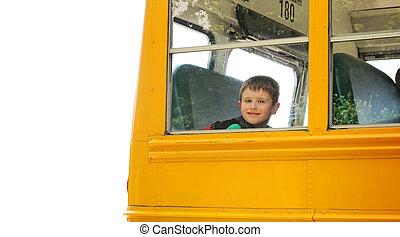 menino, levantar, autocarro escolar, branco, fundo