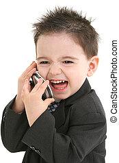 menino, ligado, cellphone