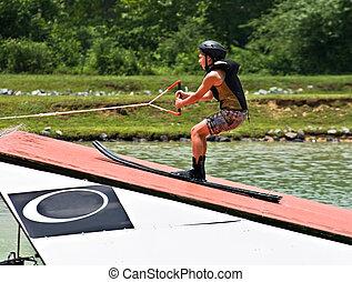 menino, ligado, esqui água, rampa