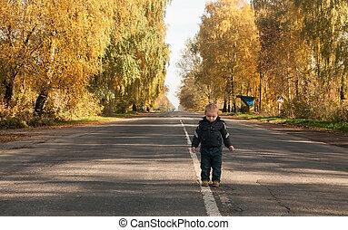 menino, ligado, estrada