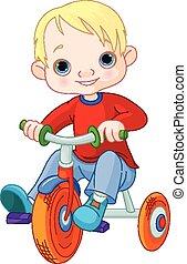 menino, ligado, triciclo