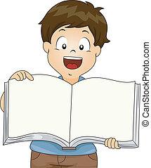 menino, livro, abertos, criança, em branco