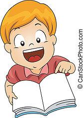 menino, livro, abertos, criança