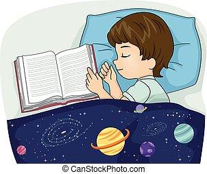 menino, livro, criança, dormir