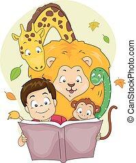 menino, livro história, animais, criança