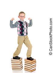 menino, livro, jovem
