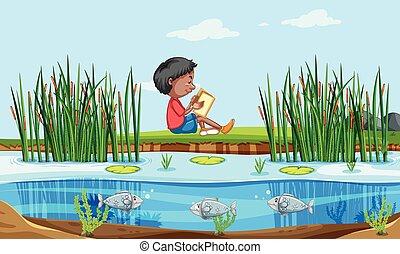 menino, livro, leitura, natureza
