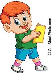 menino, livro, leitura, sorrizo