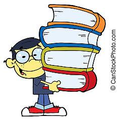 menino, livros, asiático, seu, mãos