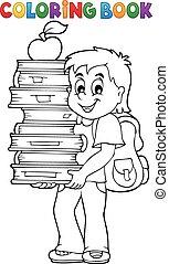 menino, livros colorindo, livro, segurando
