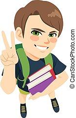 menino, livros, estudante, segurando
