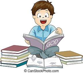 menino, livros, religioun