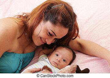 menino, mãe, adotado, dela, hispânico