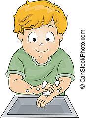 menino, mãos lavando