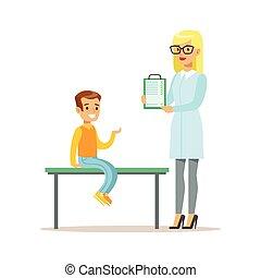 menino, médico feminino, médico, área de transferência,...