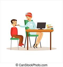 menino, médico feminino, médico, computador, exame,...