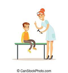menino, médico feminino, verificar, pre-escola, exame,...