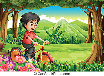 menino, madeiras, biking