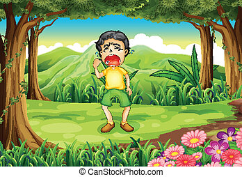 menino, madeiras, chorando