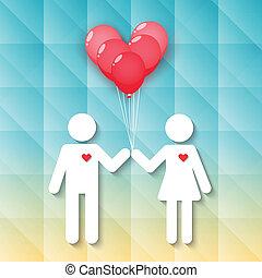 menino, menina, balões, coração vermelho