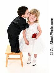 menino, menina, beijo